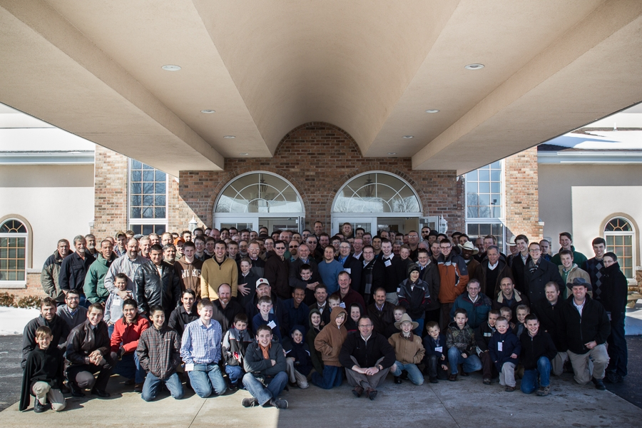 Here's the whole group--150 men & boys!